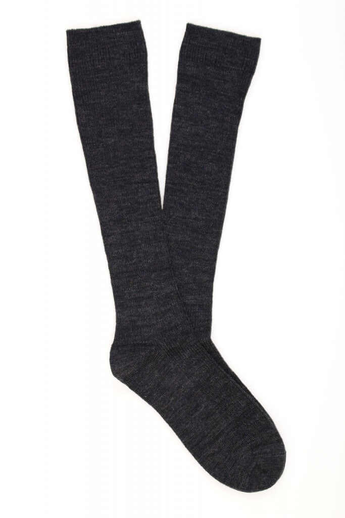 Kids Wool-Cotton Plain Knee High Sock