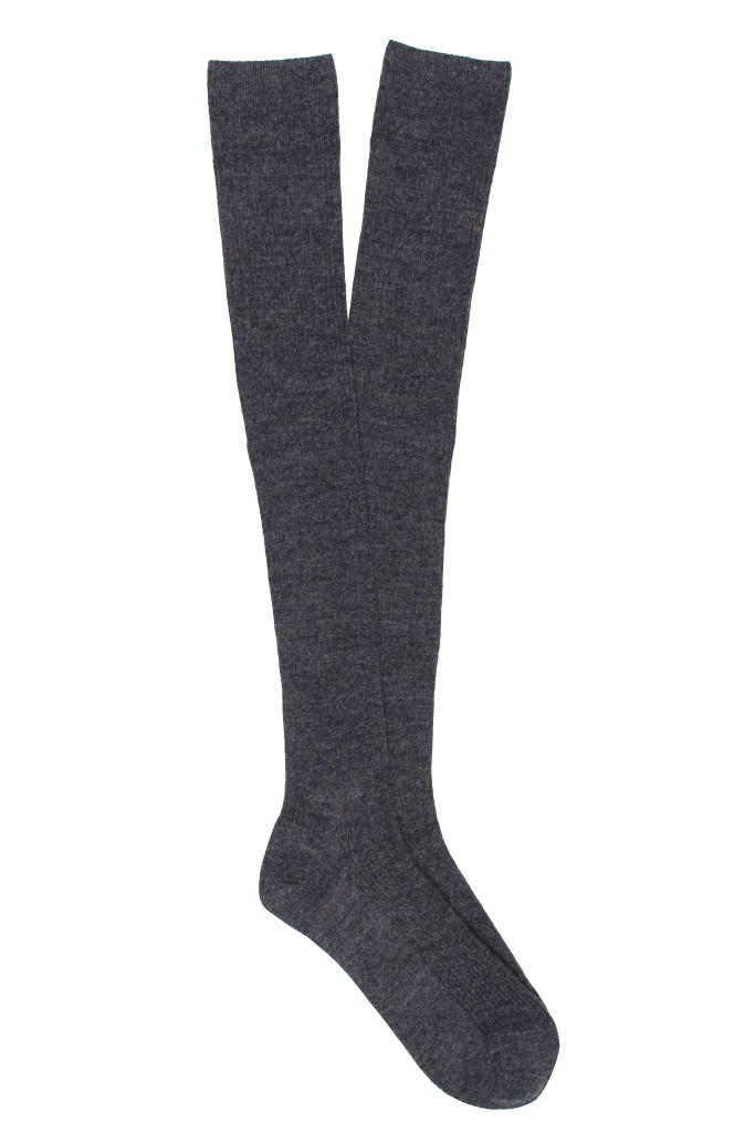 Women Superwash Fine Merino Wool Rib Knee High Socks